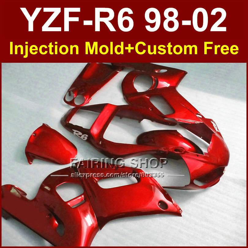 S6UH Perfect custom fairing for YAMAHA YZF R6 98-02 YZF R6 fairing kit 1998 1999 2000 2001 2002 red fairing parts OFE8