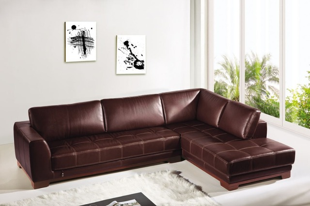 Corner Genuine Leather Sofa Set Modern Brown Sofas And L Shaped Sofa Cover  # 8285 With Solid Wooden Legs