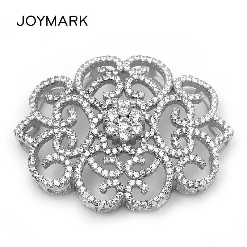 Multi-rangée fleur forme 925 en argent Sterling Zircon Micro Pave bricolage perle collier bijoux résultats connecteurs SLJQ-CZ003