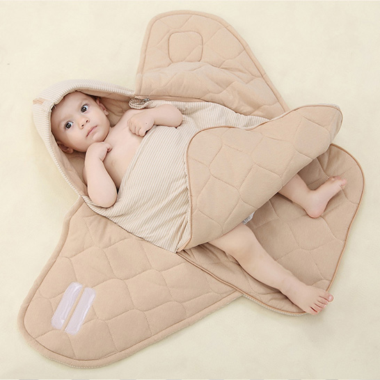नवजात शिशु के लिए कार्बनिक कार्बनिक कपास गद्देदार लपेटें कंबल स्लीपिंग बैग, गोद भराई 100% कपास, 0-12 मिमी