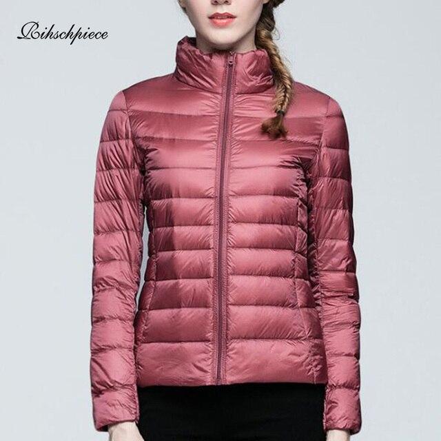 3b597519cbe Rihschpiece 2018 Winter Ultra light Duck Down Jacket Women Plus Size 3XL  Coat Spring Black Warm Thin Puffer Jackets RZF1460