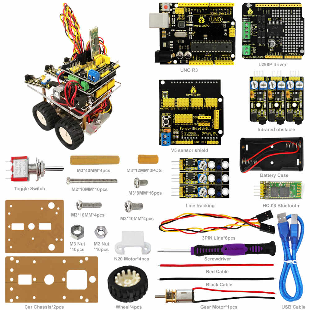 Keyestudio Desktop Bluetooth Smart Robot Car Kit for Arduino DIY Robot  Education Programming+3Projects+User Manual+PDF(online)