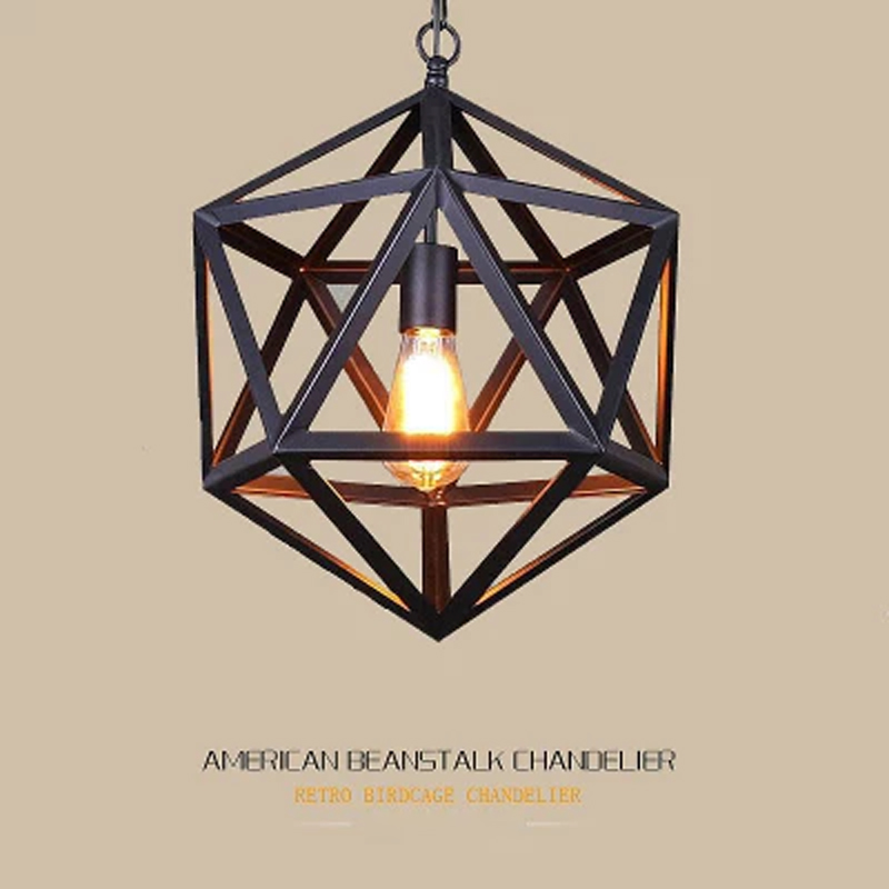 Retro American industrial chandelier lighting lamp iron polygon single head loft lamp industry style chandelier цены