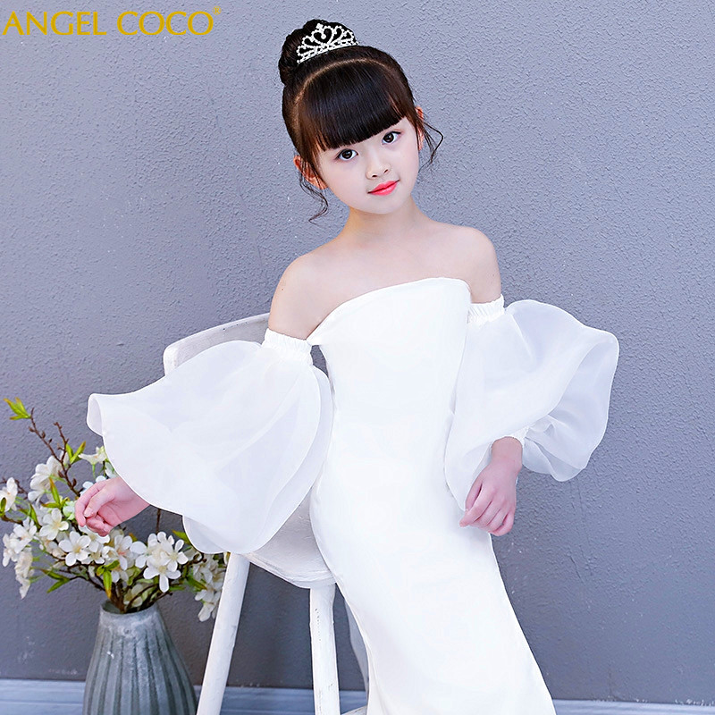 Fashion white halter girl child models catwalk Slim Mermaid evening dress T stage fashion show clothes Carnival Costume For Kids girl