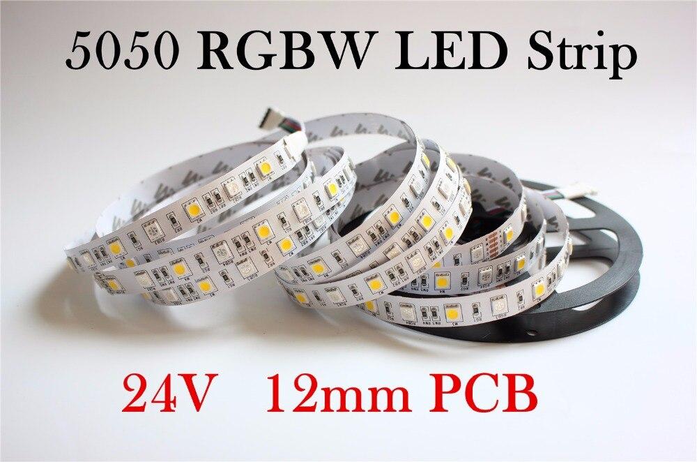 IP20 12mm PCB DC24V LED Strip Light 5050 RGBW 60 LED/m IP20 RGB+W/ RGB+WW Flexible LED tape Better Than Smd3528 5630 5730