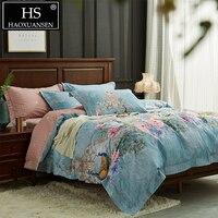 HS синий комплект постельного белья павлин и цветущие цветы кашне комплекты постельного белья и одеяла король королева размер рождественск