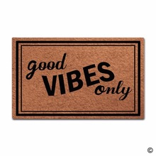 Funny Printed Doormat Entrance Floor Mat Good Vibes Only Door Indoor Outdoor Decorative Non-woven Fabric Top 2