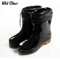 Rainboots New Stylish Couples Water Shoes Footwear And Warm In Autumn And Winter Solid Colors Men