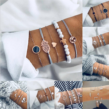 HOCOLE Vintage Link Chain Bracelet Sets Female Bohemian Gold/Silver Metal Multi-layer Bangle Bracelets For Women Party Jewelry