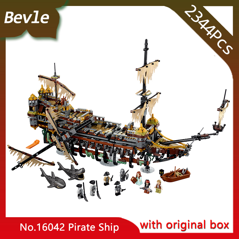 Original box Bevle Store LEPIN 16042 2344Pcs Movie Series Caribbean silent Mary Pirate Ship Building Blocks Children Toys 71042 bevle store lepin 22001 4695pcs with original box movie series pirate ship building blocks bricks for children toys 10210 gift