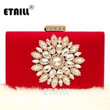 ETAILL, роскошная дизайнерская вечерняя сумочка с бриллиантовыми цветами, красно-черный велюровый клатч, сумочка, свадебные вечерние сумочки для невесты, Сумочка на плечо с цепочкой