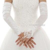 Long Satin White Or Ivory Bridal Lace Wedding Gloves Fingerless Bride Womens Elegant Gloves
