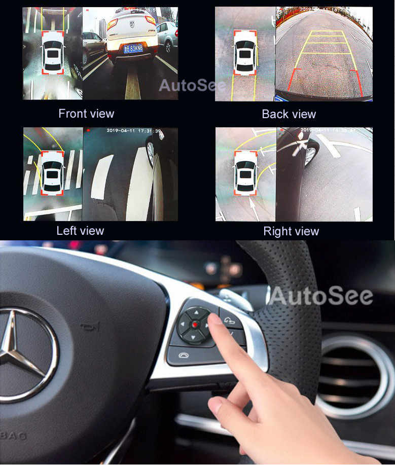 Car all round view system 360 camera  birds eye 4 way DVR 1080P, active trajectory line optional