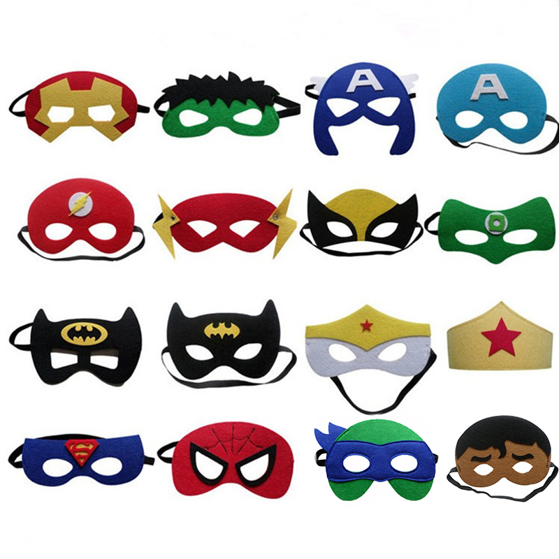 Superhero Mask Cosplay Superman Spiderman Hulk Thor IronMan Flash Princess Halloween Christmas kids Kid Party Costumes Masks