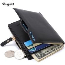 BOGESI Saling Men Wallets Brand PU Purse Male Money Wallet Letter New Design Card Top PU Leather Zipper Card Holder Casual Soft