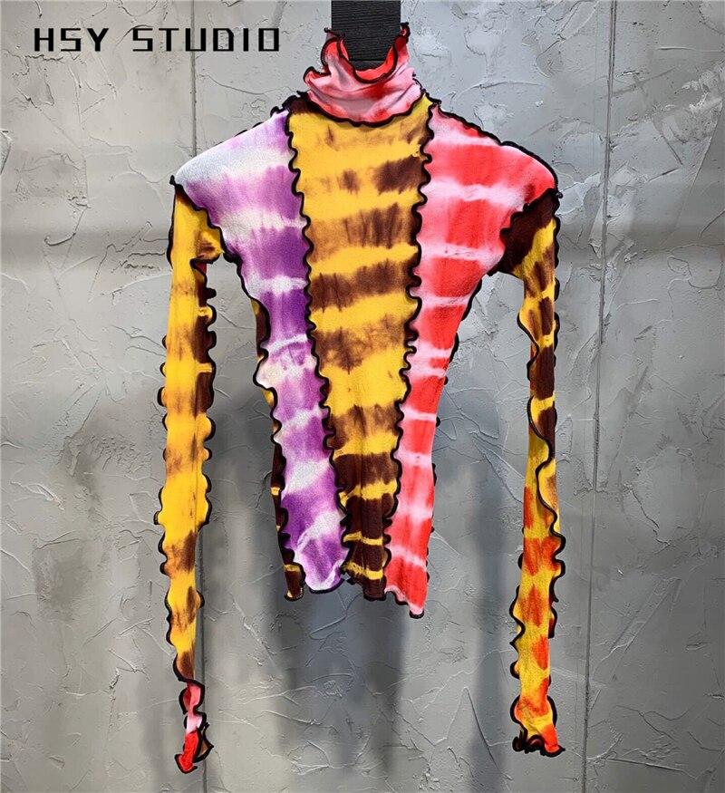 【HSY studio】 2019 automne nouvelle tendance slim fit patchwork trois couleurs femmes base chemise à manches longues col haut femmes corps t-shirt