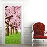 HAOCHU 2 개 3D 맞춤 모조 문 스티커 벚꽃 꽃 나무 DIY 데칼 벽화 홈 장식 포스터 PVC 방수