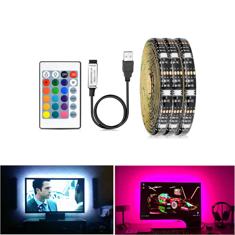 1M 2M 5050SMD RGB LED Licht TV Achtergrond Verlichting Met Afstandsbediening PC Computer Backlight Decor Luces LED kast Licht