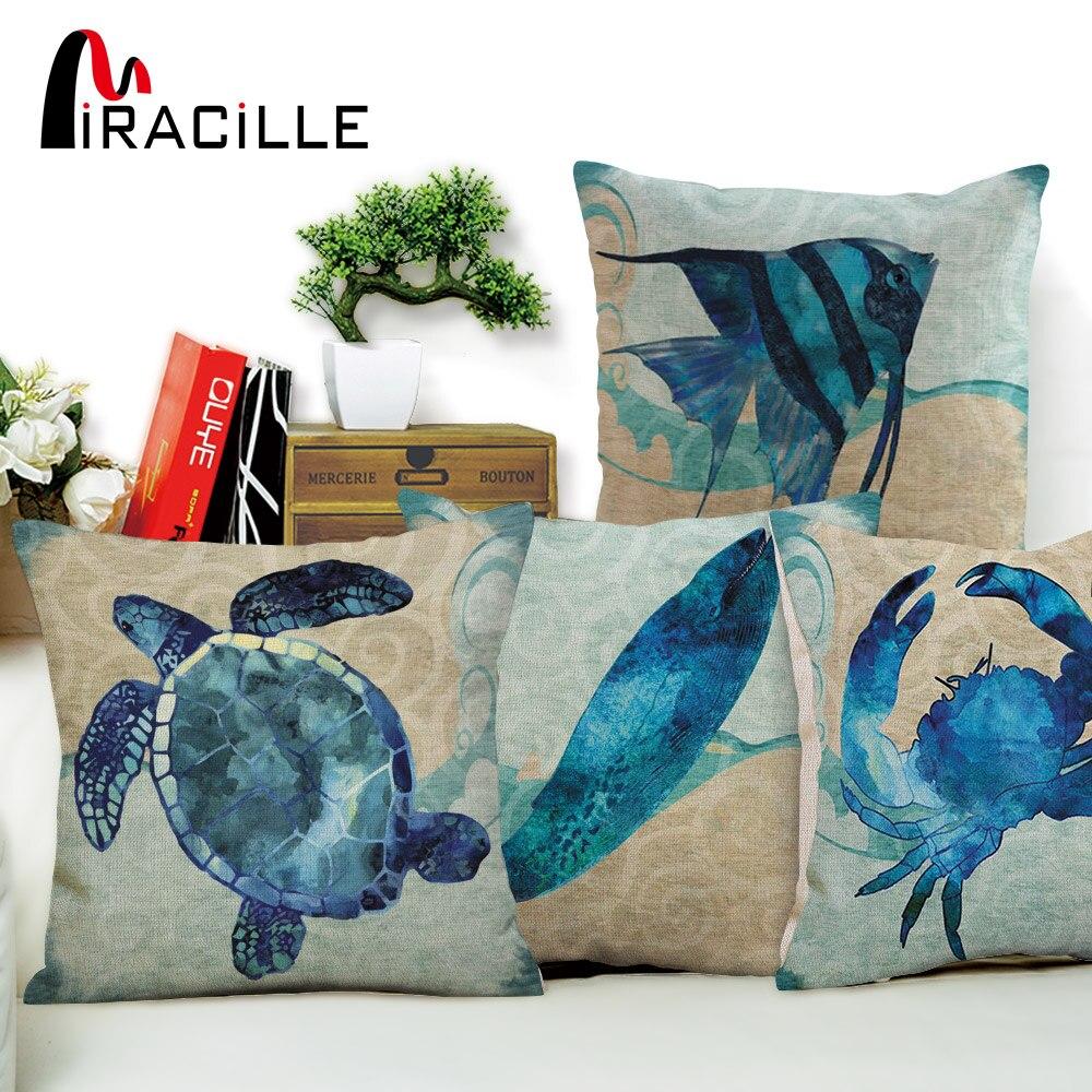 Miracille décor à la maison bleu Marine tortue pieuvre cheval de mer méduse motif jet taie d'oreiller carré coton lin housse de coussin