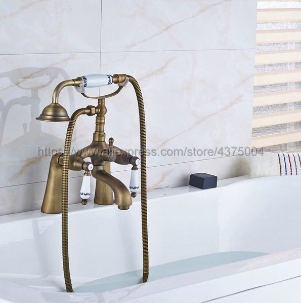 Antique Brass Dual Handle Bathroom Tub Faucet Deck Mounted Bathtub Mixer Taps with Handshower Nan009 цена