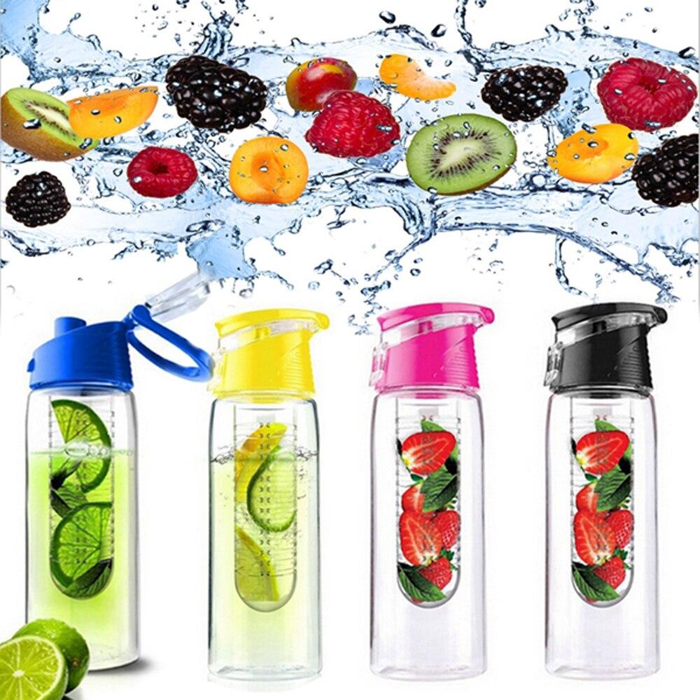 Flesh Fruit Infusing Infuser Water Lemon  Juice Health Eco-Friendly BPA Flip Lid Detox Bottle 700ml 800ml