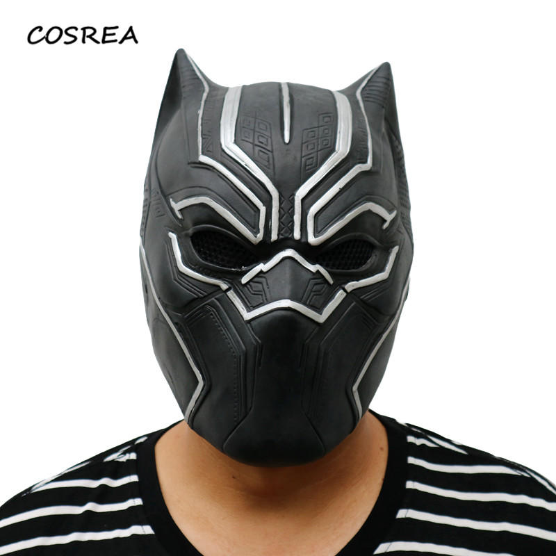 Black Panther  Marvel Movie Cosplay Adult Men Superhero Halloween Carnival Party Decoration Props Latex Helmet Masks