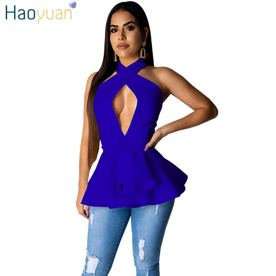 HAOYUAN Off Shoulder Backless Sexy Halter Top Streetwear 2019 Zomer Rave Festival Casual Shirt Vrouwen Kleding Side Zip Tank Tops