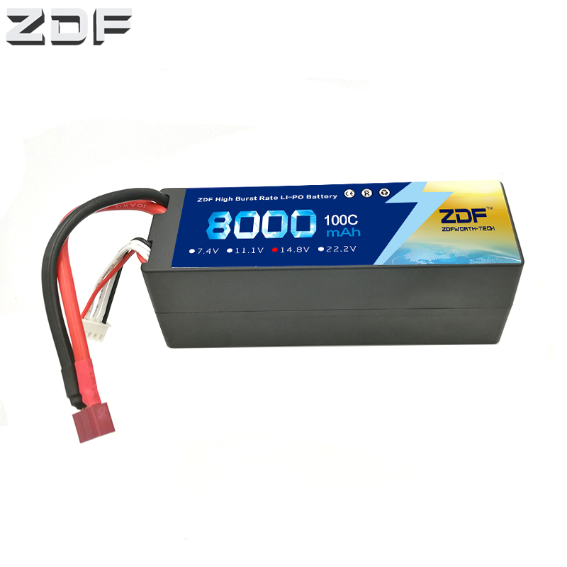 ZDF 4S Lipo Li-Polymer Battery 14.8V 8000mAh 100C Burst 200C Hard Case AKKU for RC Car Quadcopter Helicopter AirplaneZDF 4S Lipo Li-Polymer Battery 14.8V 8000mAh 100C Burst 200C Hard Case AKKU for RC Car Quadcopter Helicopter Airplane