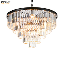 цена на Vintage Black Crystal Chandelier Light Fixture Round K9 Crystal Hanging Lighting Suspension Lamp illumination for Living Room
