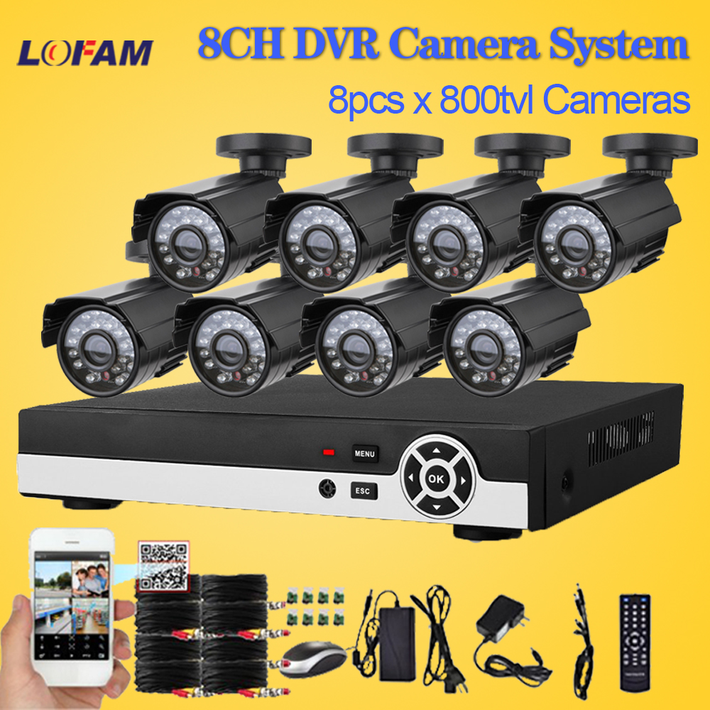 LOFAM CCTV System 8CH Outdoor Waterproof Security Camera System 8CH DVR System Home 8pcs CCTV Camera