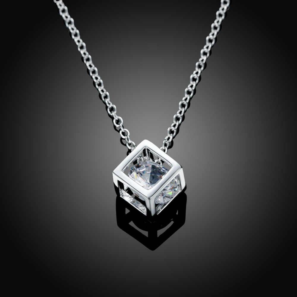 """Hurtownia biżuterii 925 srebro naszyjniki kwadratowy wisiorek cyrkonia CZ 18 """"łańcuch kobiety dziewczyna biżuteria letnia"""