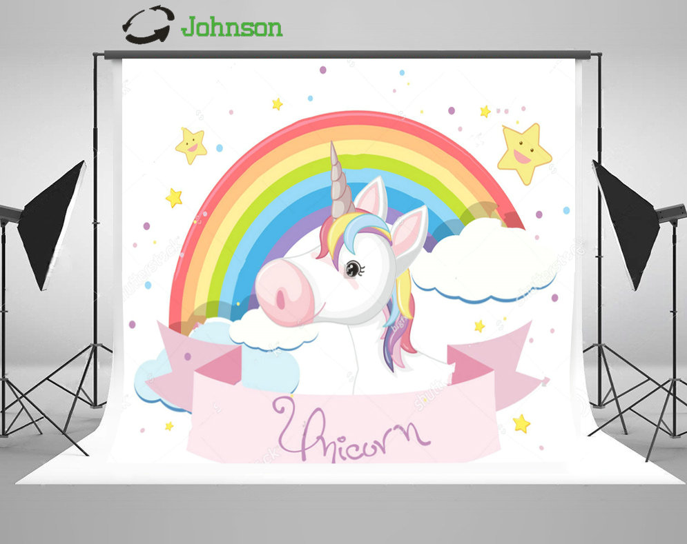 Cute Rainbow Unicorn White Clouds Stars background polyester or Vinyl cloth High quality Computer print party backdrop