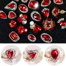 5 шт./лот, новогодние 3D украшения для ногтей, красные стразы с бриллиантами, амулеты, Стразы для ногтей, блестки, сделай сам, украшения для ногтей