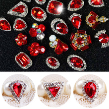 5Pcs/Lot NEW YEAR 3D Nail Jewelry Charm Red Diamond Rhinestone Charms Rhinestones For Glitter DIY Art Decorations
