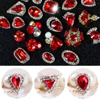 5Pcs/Lot NEW YEAR 3D Nail Jewelry Charm Red Diamond Rhinestone Charms Rhinestones For Nail Glitter DIY Nail Art Decorations 10pcs 3d nail rhinestones glitter diamond crystal for nails metal jewelry nail art decorations diy charms wholesale 2019