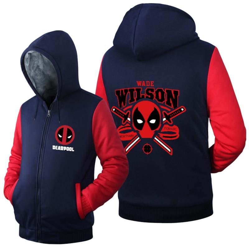 Hot New Deadpool Wade wilson Hoodie Logo Winter JiaRong Fleece Mens Sweatshirts Free Shipping