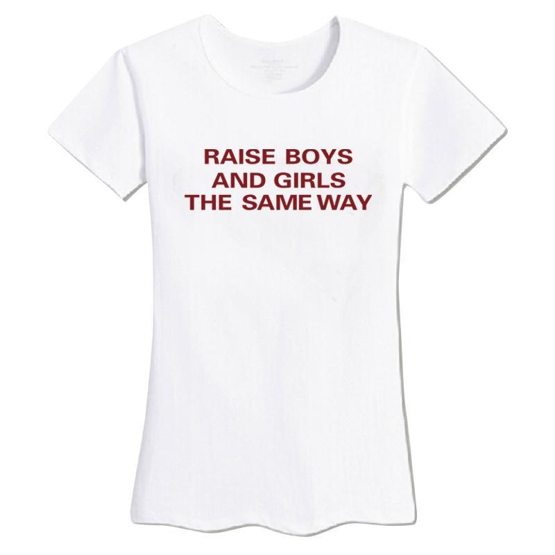 HTB1Yhu6KVXXXXXCXFXXq6xXFXXXW - New Letters Print Raise Boys And Girls The Same Way T-Shirts Tees