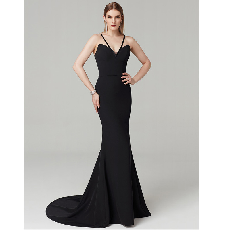 TS Couture Mermaid / Trumpet Y Neck Sweep / Brush Train Spandex Formal Graduation/ Black Tie Gala Dress