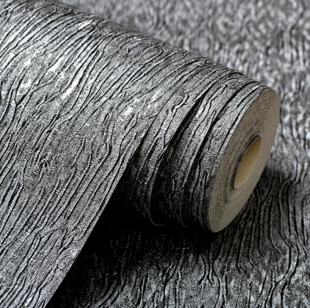 Silver Grey Black Metallic Textured Wallpaper Roll Gray