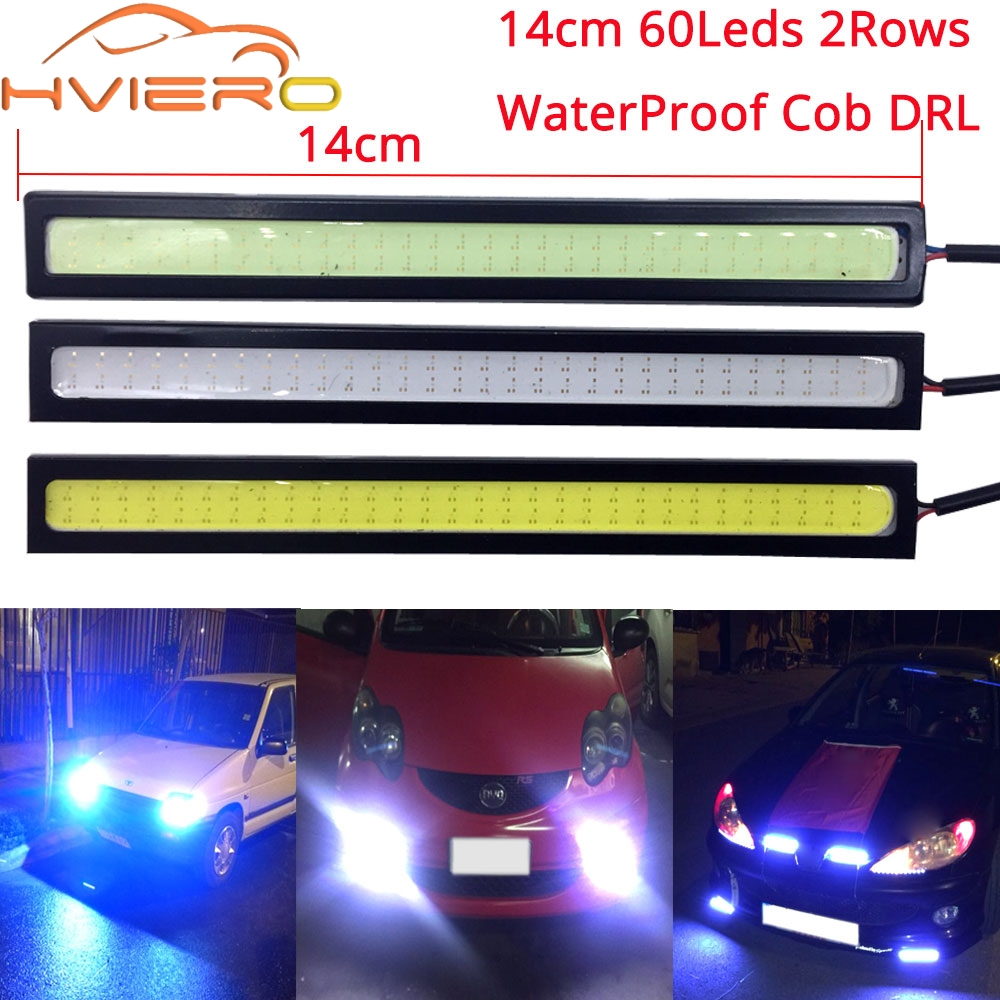 14cm COB 60Leds 2Rows White Blue Waterproof Auto DRL Car LED Daytime Running Light Fog Lamp DC 12V Driving Bulb Motorcycle Light 1wx5 70 90lm 6000 6700k white 5 led car daytime running light black dc 12v pair