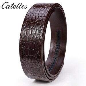 Image 4 - Catelles لا مشبك 3.5 سنتيمتر واسعة حقيقية حزام جلد طبيعي دون التلقائي مشبك حزام الذكور مصمم أحزمة حزام جلد الرجال 6045