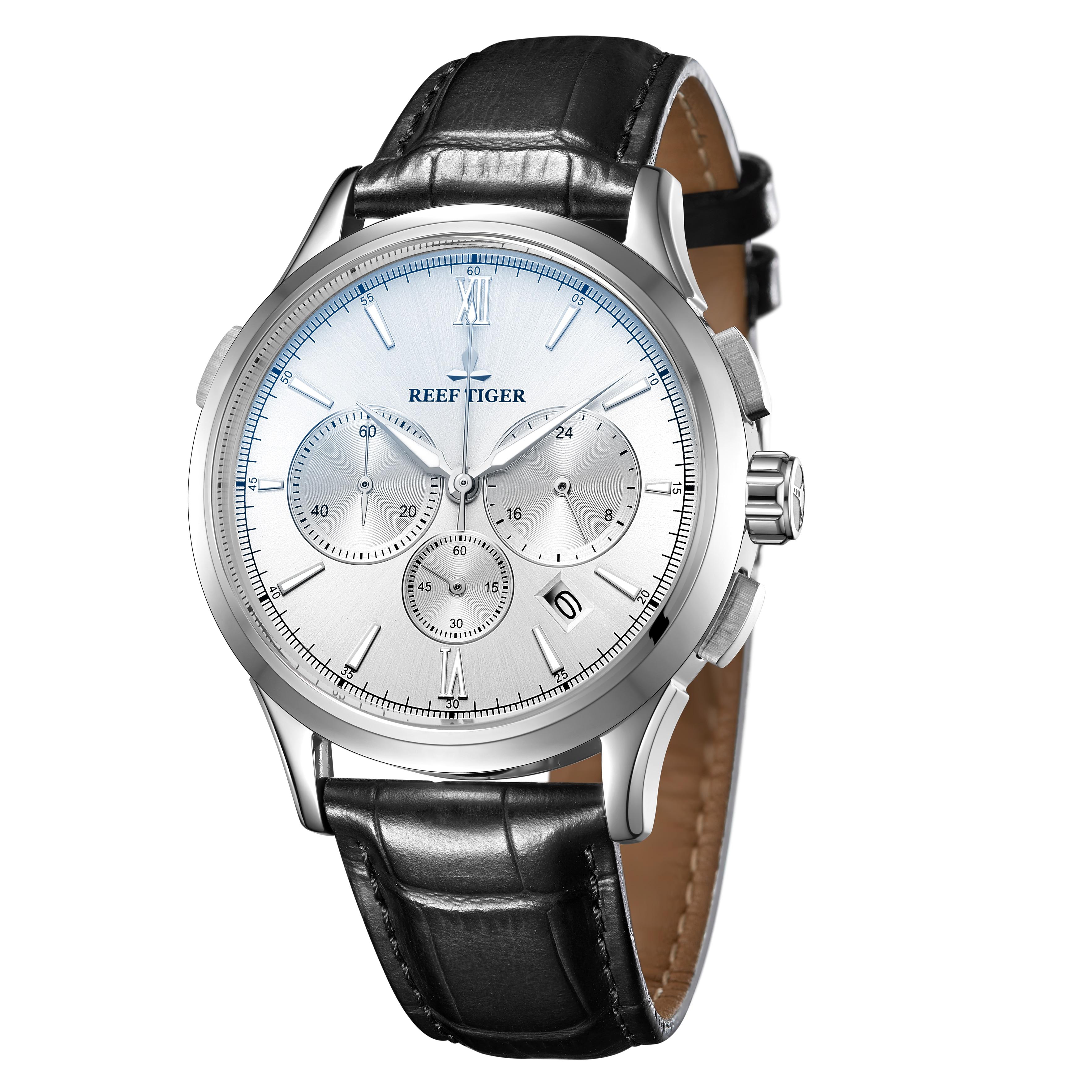 Récif tigre/RT marque de luxe montre Date cadran blanc étanche en acier inoxydable montre à Quartz montre bracelet en cuir RGA1669 - 2
