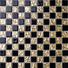 crystal mosaic tiles golden mixed black color glass tiles bathroom shower tiles wall mosaic kitchen backsplash hallway tile