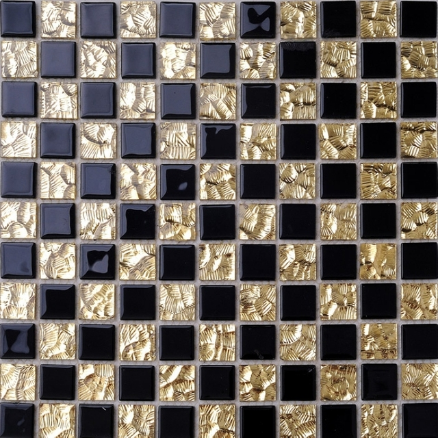 crystal mosaic tiles golden mixed black color glass tiles bathroom ...