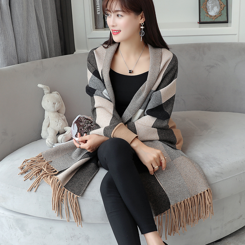 Autumn ladies women sweater sweater bat sleeve cloak cloak shawls coat stripes fall 2017 new