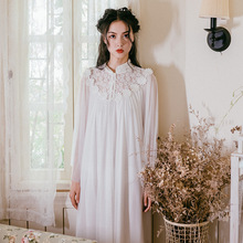 2019 New Spring Summer Nightgown Women Long Sleeve Turtlenneck Nightdress Lace Sleepwear Home Wear Sleepshirts