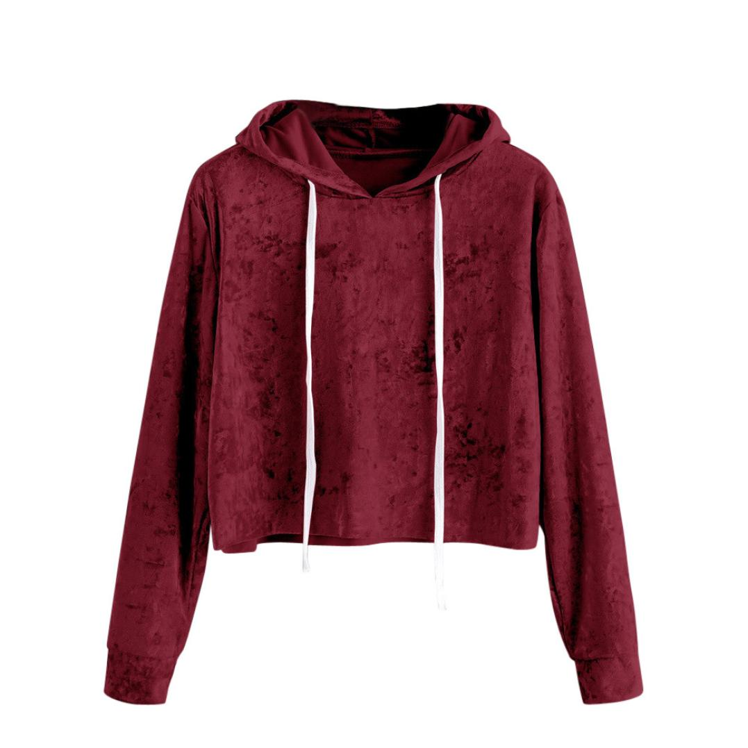 CHAMSGEND Fashion solid color Womens Long Sleeve Hoodie Sweatshirt Jumper Hooded Pullover Tops Velvet Blouse drop shippping B930