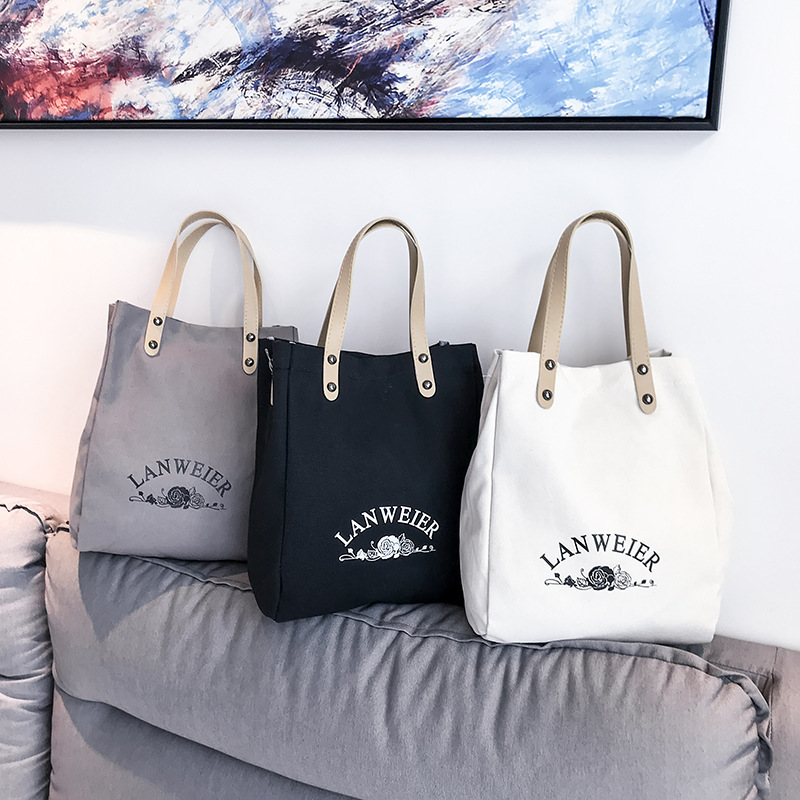 New Style Canvas Bag Leisure Large Capacity Of Two Sets Of Artistic And Environmental Protection Shopping Bags Single Shoulder