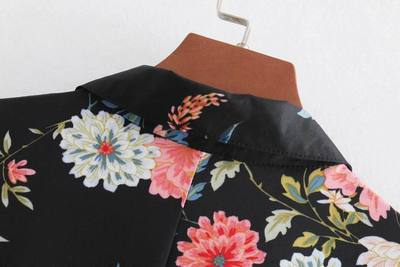 UK8307 Women european cotton za full sleeve floral print black ankle-lenth Dress Hot Sale Women Clothing vestidos