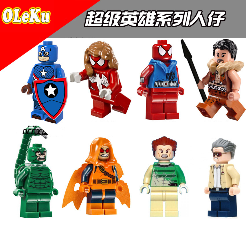 OLeKu Marvel Super Heroes Avengers Movie Scorpion Spiderman Captain America Stan Lee Models Building Blocks Toys Bricks Figures pg8017 super heroes avengers movie scorpion sdcc captain america stan lee building blocks model children bricks toy